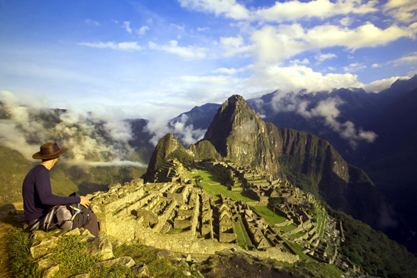 The ancient ruins of the Inca civilisation at Machu Picchu in Peru.